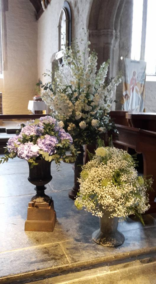 A trio of vintage stands with Delphiniums Hydrangea Gypsophilia2